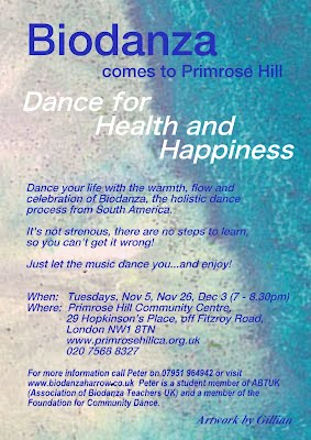 Biodanza at Primrose Hill Community Centre NW1 8TN: Tuesdays Nov 5th, Nov 26th, Dec 3rd, 7-8.30pm