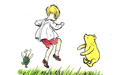 CHristopher Robin dancing with Winnie the Pooh and Piglet